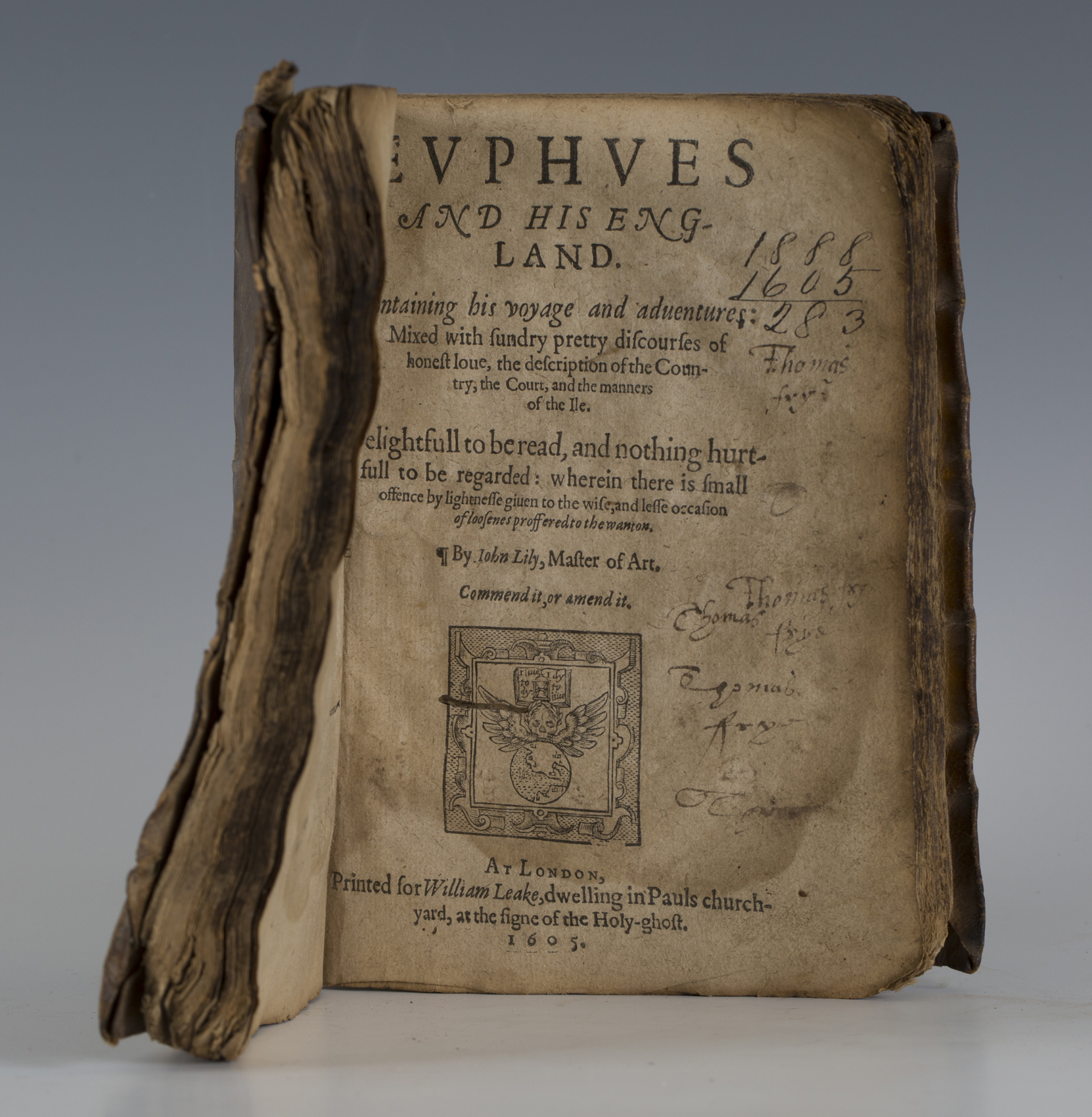 LYLY, John. Euphues, The Anatomy of Wit. N.p.: n.d. but circa 1606 ...