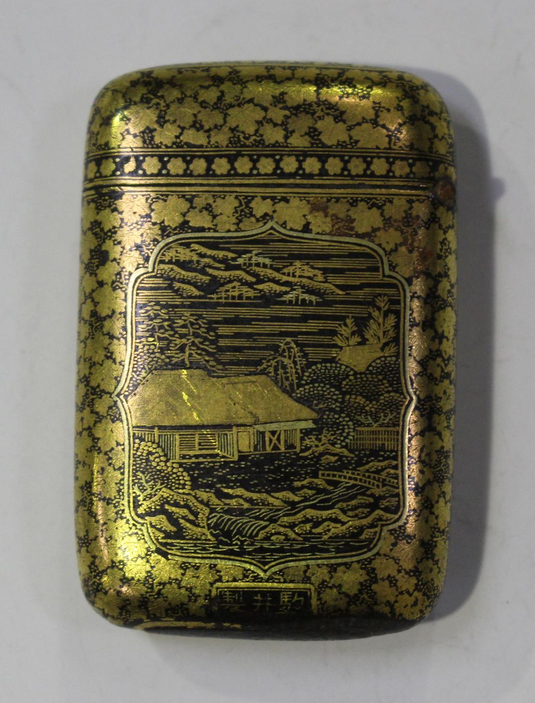 A Japanese Komai match vesta case, Meiji period, of rounded