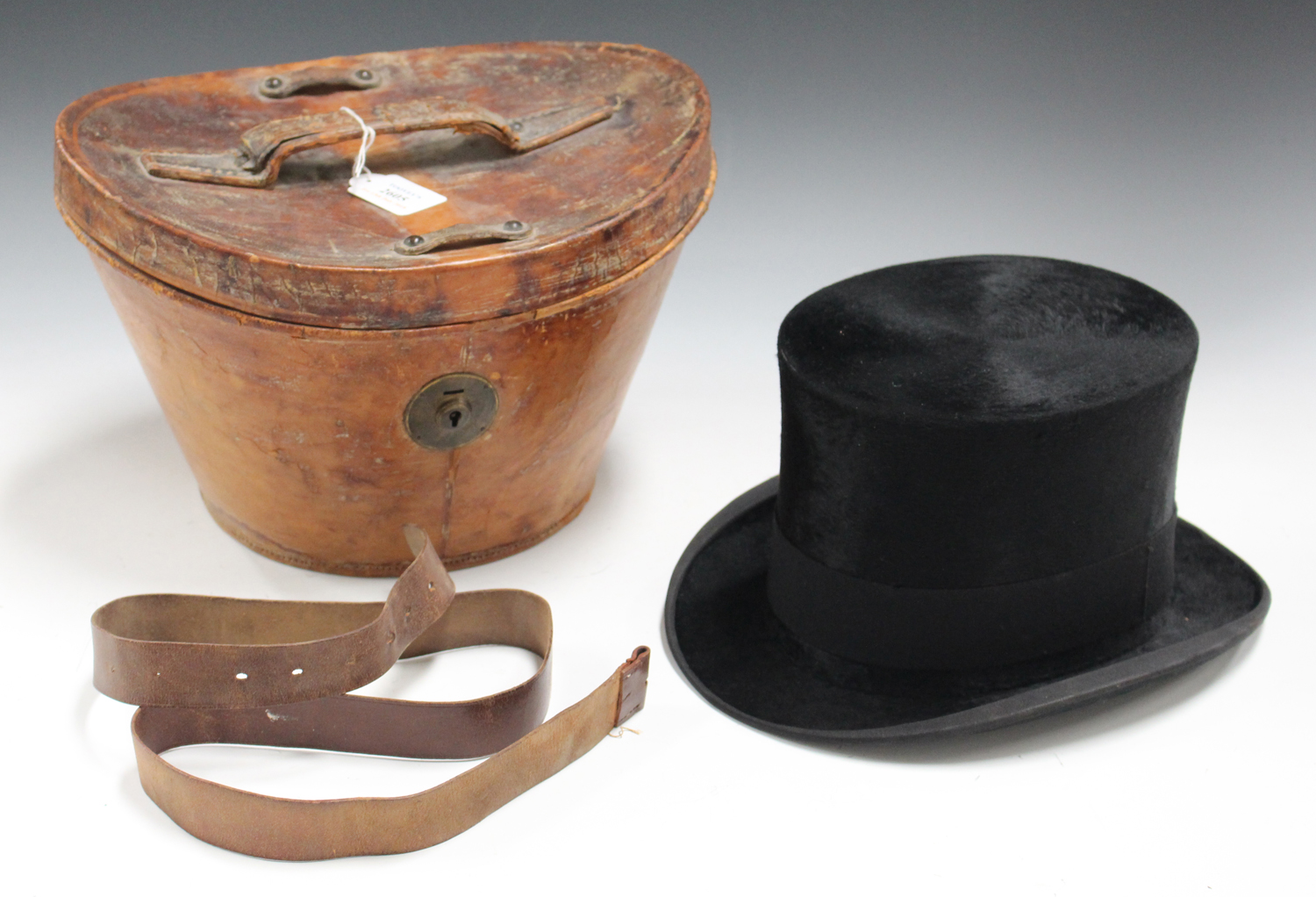 A Black Moleskin Top Hat By Austin Reed Ltd Regent Street Head Circumference 55cm Within A Brown