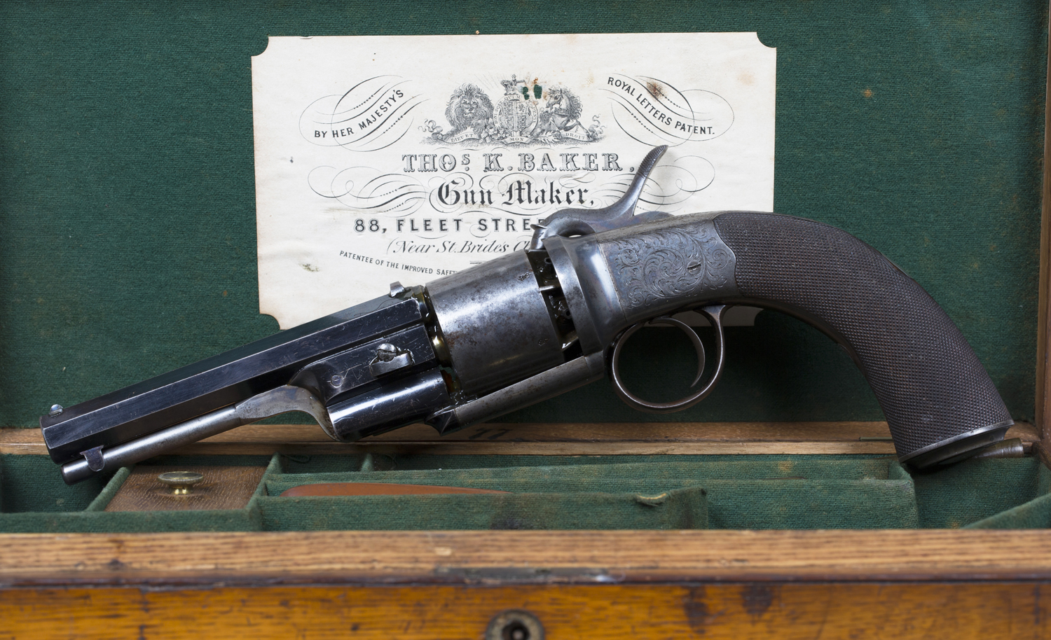 A 60 bore six shot percussion revolver by Thomas K  Baker